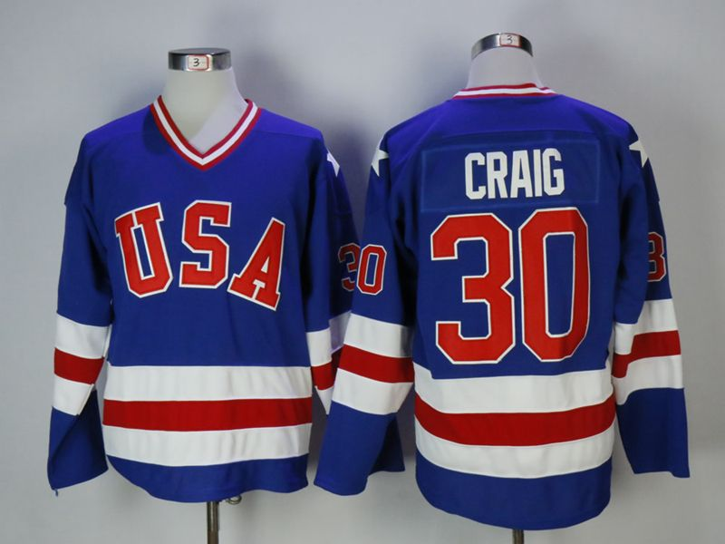 Mens Nhl Team Usa #30 Craig Blue Jersey