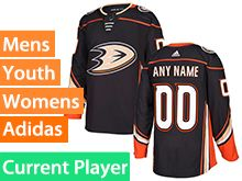 Mens Women Youth Adidas Anaheim Ducks Black Home Current Player Jersey