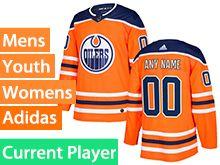 Mens Women Youth Adidas Edmonton Oilers Orange Alternate Current Player Jersey