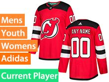 Mens Women Youth Adidas New Jersey Devils Red Home Current Player Jersey
