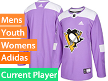 Mens Women Youth Adidas Pittsburgh Penguins Purple Fights Cancer Adidas Practice Current Player Jersey