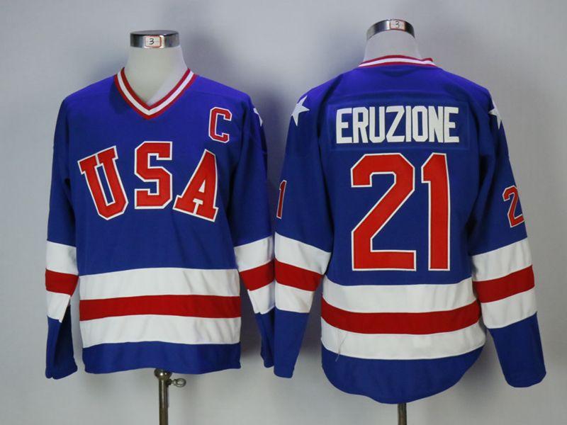 Mens Nhl Team Usa #21 Eruzione Blue Jersey
