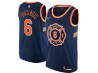 Mens Nba New York Knicks #6 Kristaps Porzingis Navy Nike City Edition Swingman Jersey