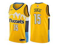 Mens 2017-18 Season Nba Denver Nuggets #15 Nikola Jokic Snow Mountain Yellow Nike Jersey