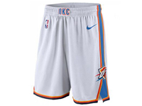 Mens 2017-18 Season Nba Oklahoma City Thunder White Shorts