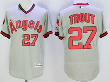 Mens Mlb Los Angeles Angels #27 Mike Trout Gray Throwbacks Pullover Flex Base Jersey