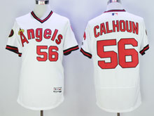 Mens Mlb Los Angeles Angels #56 Calhoun White Throwbacks Pullover Flex Base Jersey