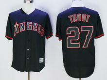 Mens Mlb Los Angeles Angels #27 Mike Trout Black Fashion Cool Base Jersey