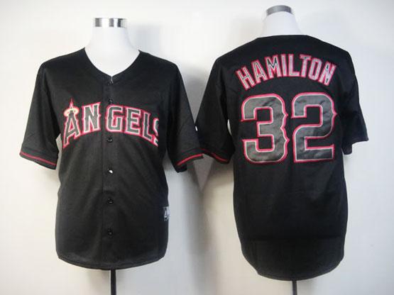 Mens Mlb Los Angeles Angels 32 Hamilton Black Fashion Jerseys
