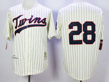 Mens Mlb Minnesota Twins #28 Blyleven Cream Blue Stripe ( No Name) Throwback Jersey