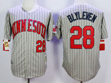 Mens Mlb Minnesota Twins #28 Blyleven Gray Blue Stripe Throwback Jersey