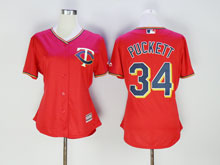 Women Mlb Minnesota Twins #34 Kirby Puckett Red Cool Base Jersey
