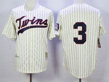 Mens Mlb Minnesota Twins #3 Killebrew Cream Blue Stripe ( No Name ) Throwback Jersey