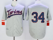 Mens Mlb Minnesota Twins #34 Kirby Puckett Gray ( No Name) Throwback Jersey