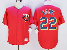 Mens Majestic Minnesota Twins #22 Miguel Sano Red Cool Base Jersey