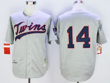Mens Mlb Minnesota Twins #14 Hrbek Gray ( No Name) Throwback Jersey