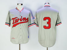 Mens Mlb Minnesota Twins #3 Killebrew Gray Red Numbers ( No Name) Throwback Jersey