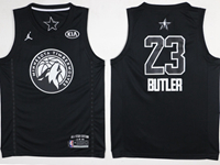 Mens 2018 All Star Nba Minnesota Timberwolves #23 Jimmy Butler Black Jersey