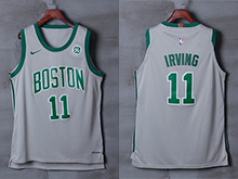 Mens Nba Boston Celtics #11 Kyrie Irving Gray Nike City Edition Swingman Jersey