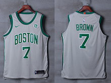 Mens Nba Boston Celtics #7 Jaylen Brown Gray Nike City Edition Jersey