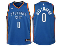 Youth Nba Oklahoma City Thunder #0 Russell Westbrook Blue Nike Swingman Jersey