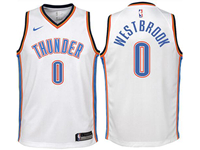 Youth 2017-18 Season Oklahoma City Thunder #0 Russell Westbrook White Nike Swingman Jersey