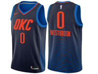 Mens 2017-18 Season Nba Oklahoma City Thunder #0 Russell Westbrook Navy Swingman Jersey