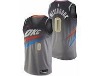 Mens 2017-18 Season Nba Oklahoma City Thunder #0 Russell Westbrook Gray Nike City Edition Swingman Jersey