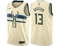 Mens 2017-18 Season Nba Milwaukee Bucks #13 Malcolm Brogdon Cream City Edition Swingman Jersey