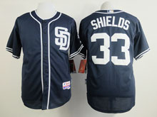 Mens Mlb San Diego Padres #33 Shields Blue ( Sd ) Cool Base Jersey