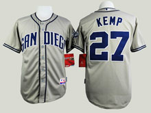 Youth Mlb San Diego Padres #27 Matt Kemp Gray Cool Base Jersey
