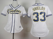 Women Mlb San Diego Padres #33 Shields White Cool Base Jersey