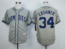 Mens Mlb San Diego Padres #34 Cashner Gray Cool Base Jersey