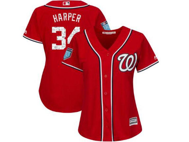Women Mlb Washington Nationals #34 Bryce Harper Majestic Red 2018 Spring Training Cool Base Player Jersey