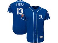 Mens Mlb Kansas City Royals #13 Salvador Perez Majestic Blue 2018 Spring Training Flex Base Player Jersey