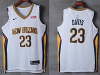 Mens New Orleans Hornets #23 Anthony Davis White Nike City Edition Jersey