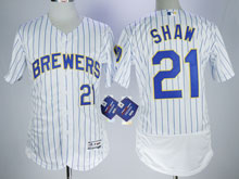 Mens Majestic Mlb Milwaukee Brewers #21 Travis Shaw White Pinstripe Flex Base Jersey