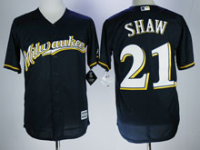 Mens Mlb Milwaukee Brewers #21 Travis Shaw Blue Cool Base Baseball Jersey