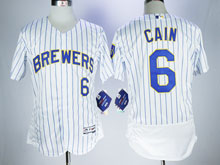 Mens Majestic Mlb Milwaukee Brewers #6 Cain White Pinstripe Flex Base Jersey