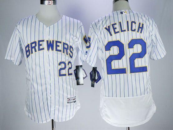 Mens Majestic Mlb Milwaukee Brewers #22 Yelich White Pinstripe Flex Base Jersey