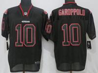 Mens Nfl San Francisco 49ers #10 Jimmy Garoppolo Black Lights Out Elite Nike Jersey