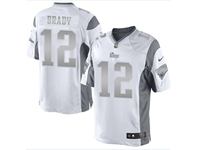 Mens Women Nfl New England Patriots #12 Tom Brady White Silver Number 2018 Limited Jersey