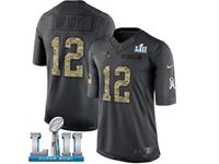 Mens Women New England Patriots #12 Tom Brady Black 2018 Super Bowl Lii Bound Salute To Service Jersey