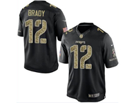 Mens Nfl New England Patriots #12 Tom Brady Black Camo Number Impact Salute To Service Limited Jersey