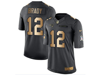 Mens Nfl New England Patriots #12 Tom Brady Black Gold Number 2018 Limited Jersey