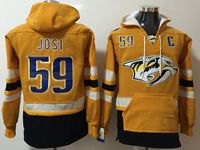 Mens Nhl Nashville Predators #59 Roman Josi Gold One Front Pocket Hoodie Jersey