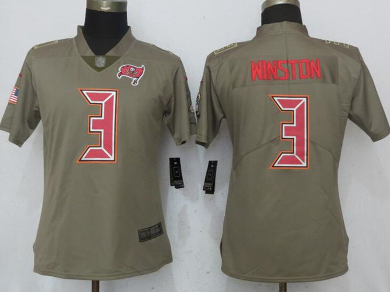Women Nfl Tampa Bay Buccaneers #3 Jameis Winston Green Olive Salute To Service Elite Nike Jersey