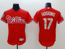 Mens Mlb Philadelphia Phillies #17 Rhys Hoskins Red 2018 Spring Training Flex Base Player Jersey