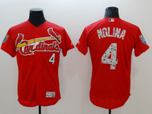 Mens Mlb St. Louis Cardinals #4 Yadier Molina Majestic Red 2018 Spring Training Flex Base Player Jersey