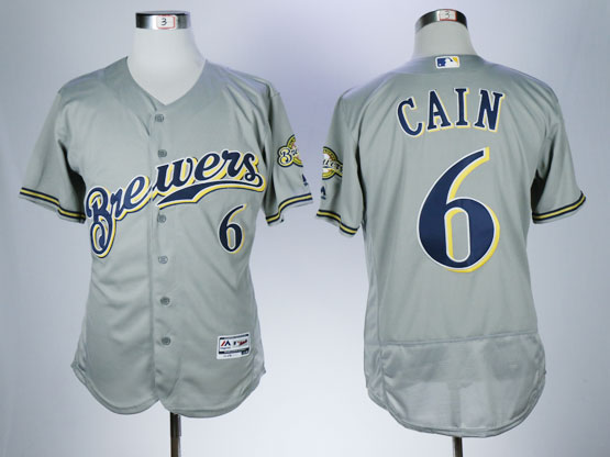Mens Majestic Mlb Milwaukee Brewers #6 Cain Gray Flex Base Jersey
